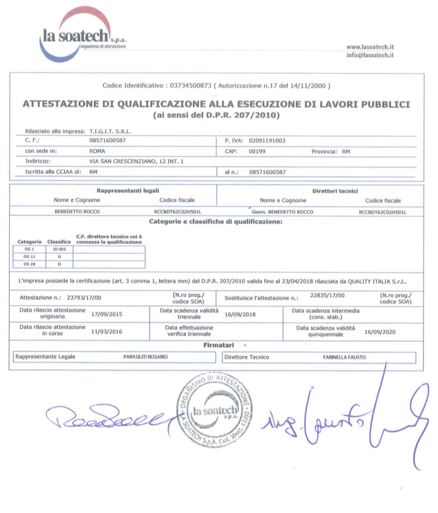tigit - certificato lavori pubblici